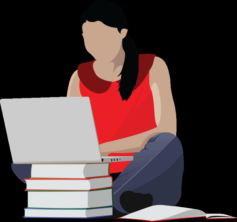 Student writing her commonapp essay